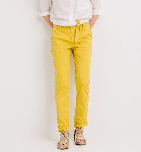 Pantalon en toile Femme jaune vert - Promod
