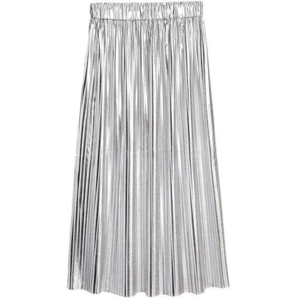 Pleated Skirt $39.99 (£32) ❤ liked on Polyvore featuring skirts, textured skirt, knee length pleated skirt, pleated skirt, elastic waist skirt and mid calf skirts