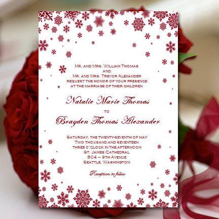 Handmade Printable Winter Bridal Shower & Wedding Invitations