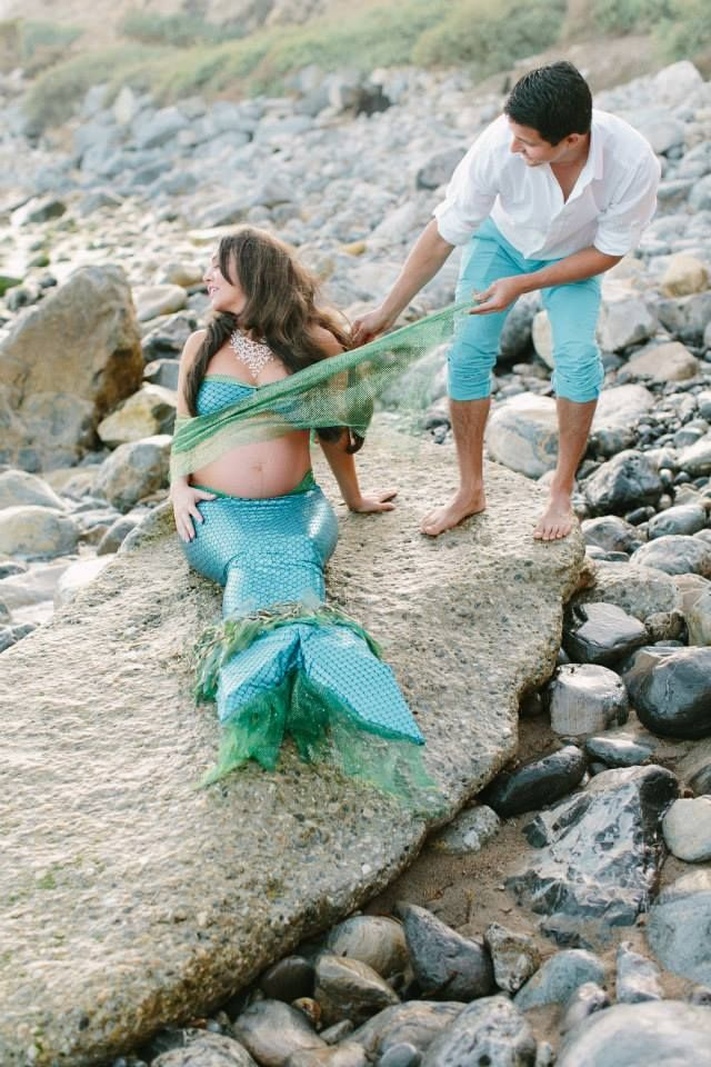 family, Ariel and Eric, mermaid, pregnant, photoshoot