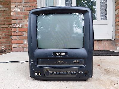 "FUNAI F3809A 9"" CRT TV VHS VCR PLAYER TAPE COMBO GAMING COLOR TELEVISION CCTV"