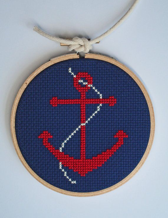 Nautical Anchor cross stitch by notsomodernmillie on Etsy