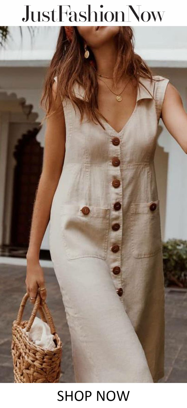 $34.13!Plus Size Casual Solid Sleeveless V Neck Pockets Midi Dresses!