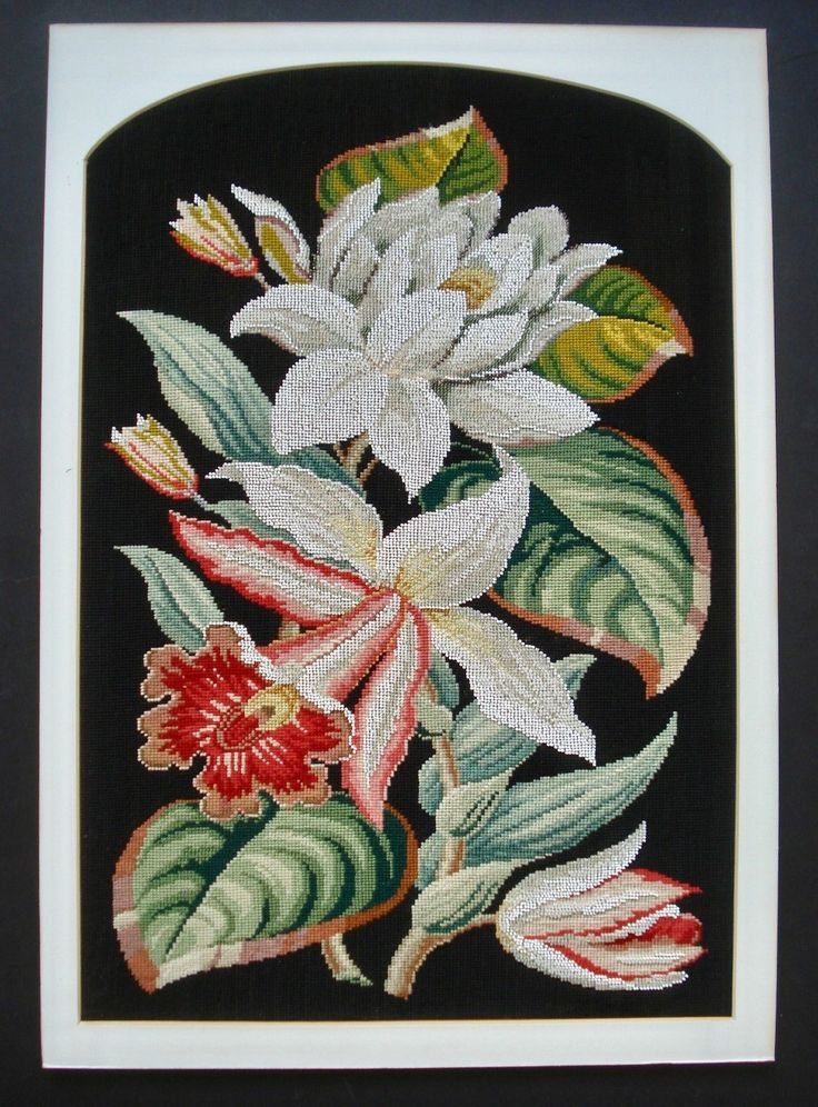 LARGE ANTIQUE VICTORIAN BEADWORK AND BERLIN WOOLWORK PANEL - LILIES | eBay