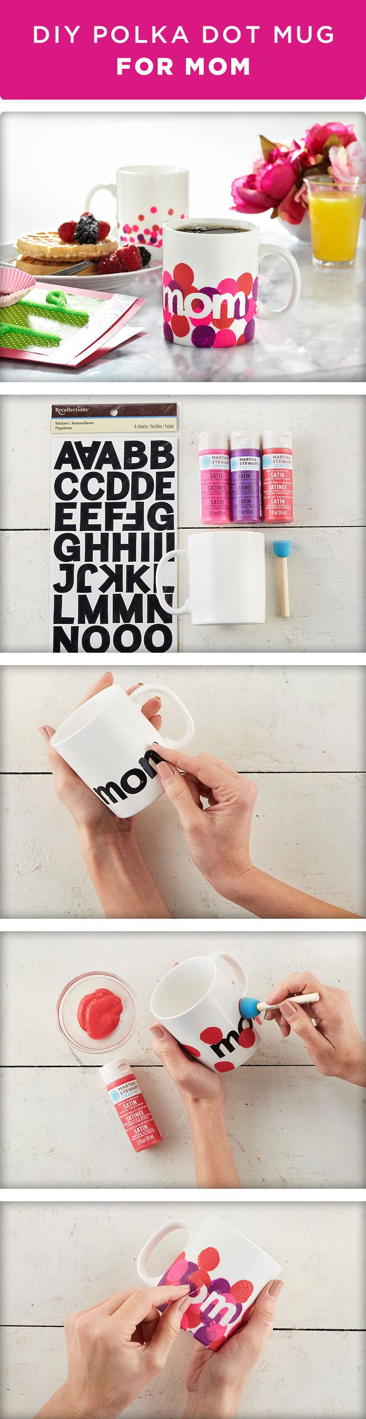 Make Mom the perfect mug for Mother's Day in just a few simple steps! Wash and dry your mug to remove any dust or film. Next, adhere alphabet stickers to spell out M-O-M. Using a spouncer, paint polka dots of various colors all over the mug being careful to avoid the area that touches the lips. While the paint is still wet, remove your stickers. Be sure to cure your mug in the oven before using. For full instructions and all of the materials you need to create this project, visit…
