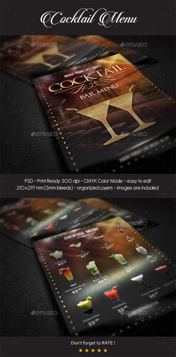 Cocktail Menu Template #design Download: http://graphicriver.net/item/cocktail-menu/12070353?ref=ksioks