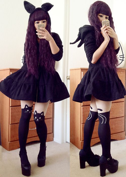 Blackberry!~ ^w^  Bunny Hoodie Dress 35$, Kitty Tights 15$both free shipping!
