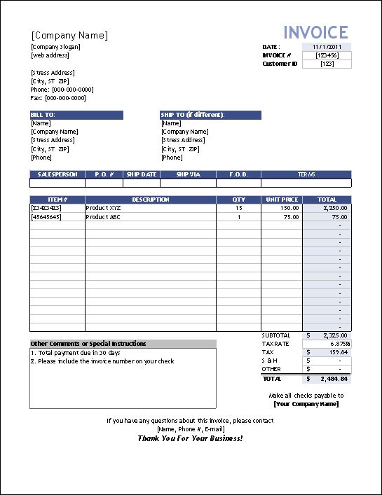 Sales Invoice Template Word | Free Invoice Template Downloads