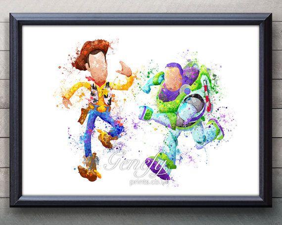 Disney Pixar Toy Story Woody and Buzz Lightyear Watercolor Art Print, Pixar Toy…