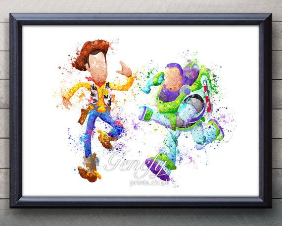 Disney Pixar Toy Story Woody and Buzz Lightyear Watercolor Art Print, Pixar Toy Story Woody and Buzz Lightyear Poster, Disney, Art, Pixar Toy Story