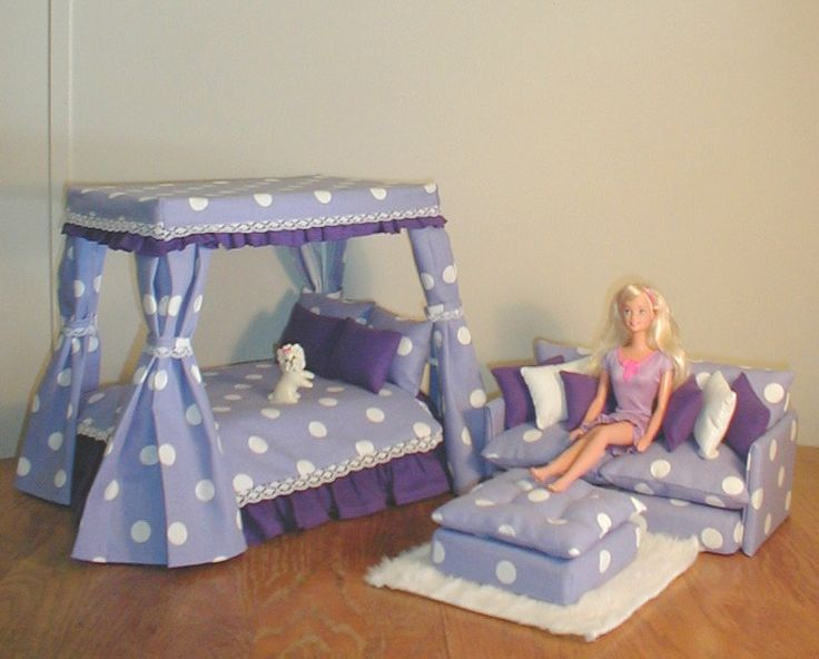 Barbie Furniture Canopy Bed Set Loveseat Purple w/White Polka Dots 1:6th Scale
