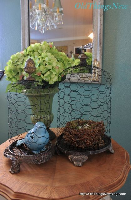 DIY Junky Chicken Wire Cloche - Old Things New