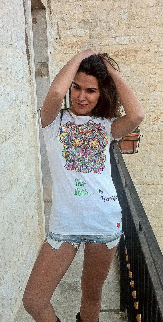 SUGAR Skull Tshirt VIVA LA VIDA Painting 3d Mexican Art - Quortshirts