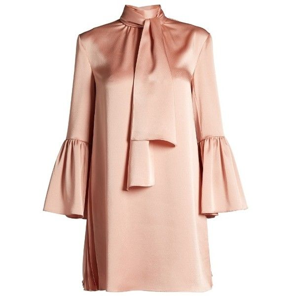 Fendi Pleat-side tie-neck satin mini dress (10.595 HRK) ❤ liked on Polyvore featuring dresses, pink, tie neck dress, bell sleeve dress, high neck mini dress, tie necktie and short pink dress