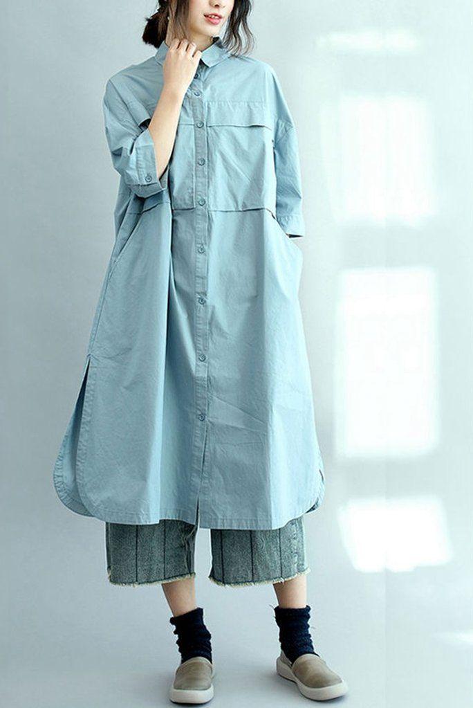 8e8f5b850bea79 Blue Long Cotton Shirts for Women 3/4 Sleeve Loose Shirt C2071 ...