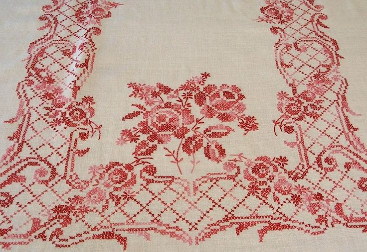 Vintage Linen Cross Stitch Pink and Red Tablecloth