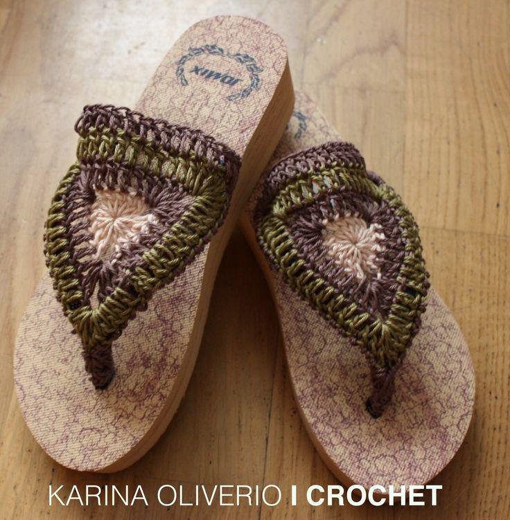 Crochet summer sandals,  crochet flip-flop.