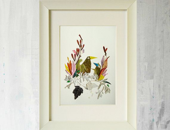 Bird prints Dried flowers Print of original by FloralCollage