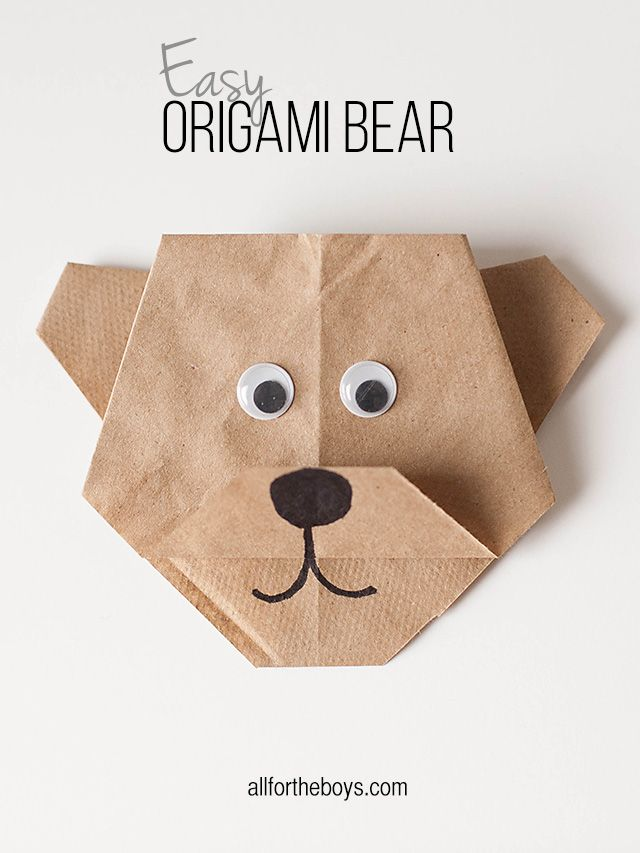 Easy Origami Bear + Disneynature's BEARS printables from All for the Boys blog recycle brown paper bags for swaps