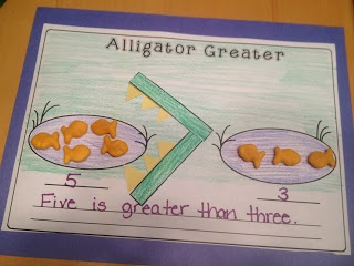 Greater than/less than with alligators and goldfish. The alligator always eats the bigger group of fish because he's always sooo hungry!