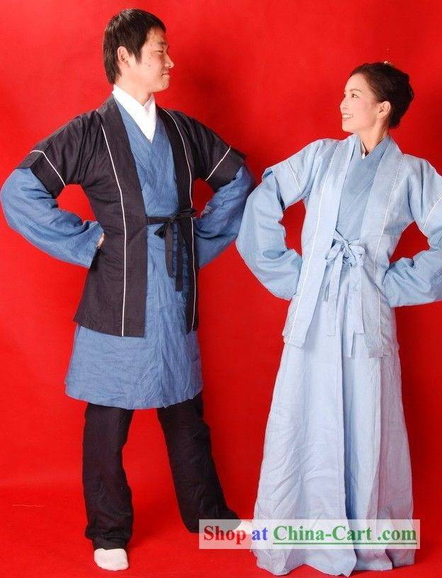 Ancient Chinese Farmer Clothing 2 Sets for Men and Women ...