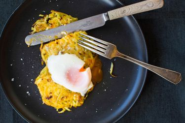 Leek and potato rosti
