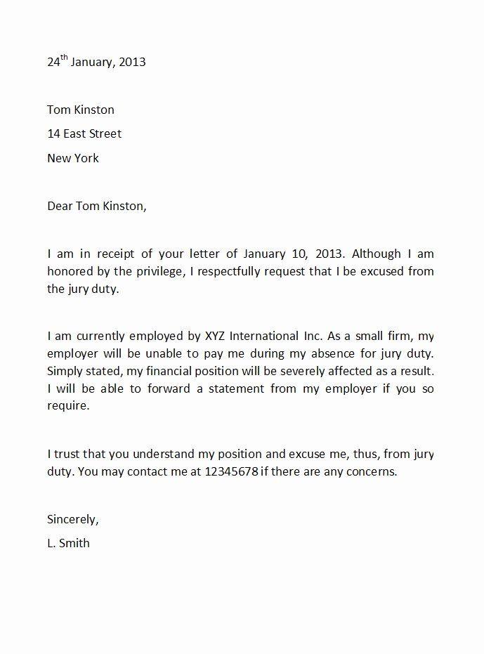 Jury Duty Excuse Letter Template Fresh 33 Best Jury Duty Excuse Letters Tips Template Lab Excuse Letter Lettering Jury