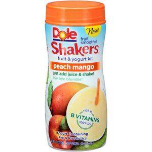 Dole Shakers Peach Mango Fruit Smoothie Fruit & Yogurt Kit, 4 oz .... Add Apple juice. So Yummy!!!!