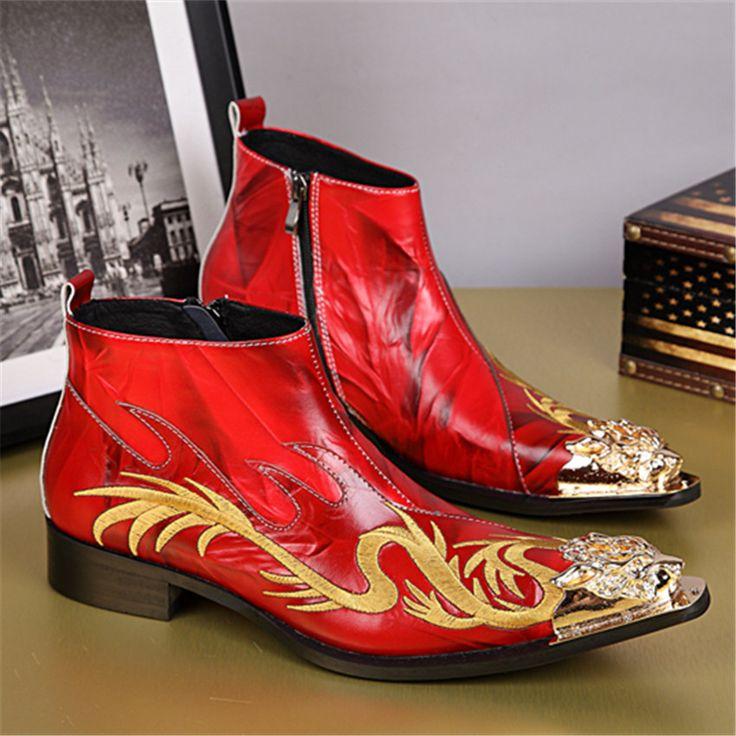 Kırmızı Ejderha Nakış Erkekler Demir Sivri Burun Ayak Bileği Çizmeler Hakiki…