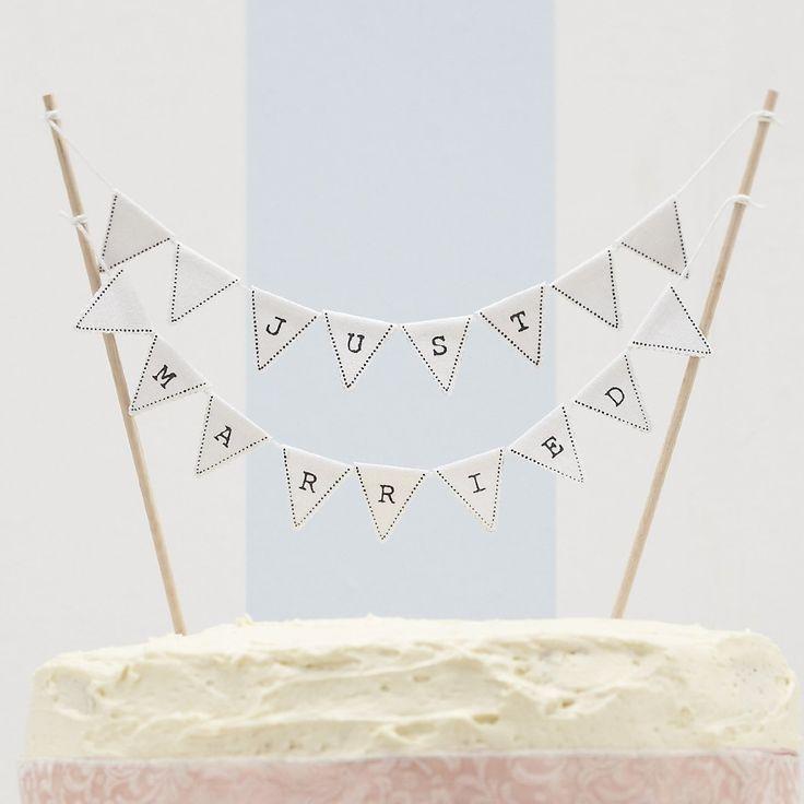 Just Married Vintage Wedding Cake Bunting - Wedding Cake Topper: Amazon.co.uk: Kitchen & Home