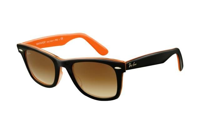 Ray Ban Wayfarer RB2140 Sunglasses Top Black Orange Frame Brown Gradient Lens