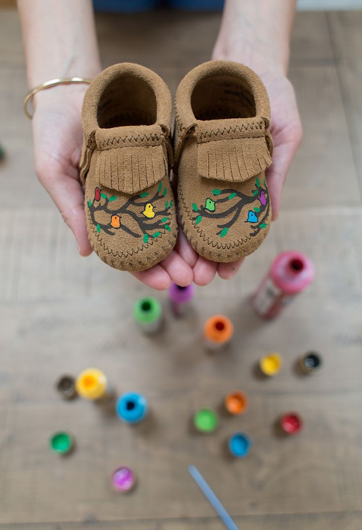 Hand-painted baby mocs to be treasured for years to come.
