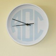 monogrammed wall clocks in a rainbow of colors and styles! dress up that dorm, bedroom, playroom or office!