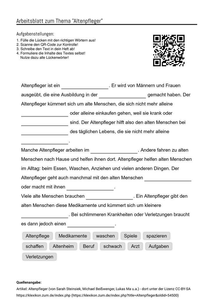 Arbeitsblatter Zum Thema In 2020 Altenpflegerin Aufgabenstellung Pflegerin