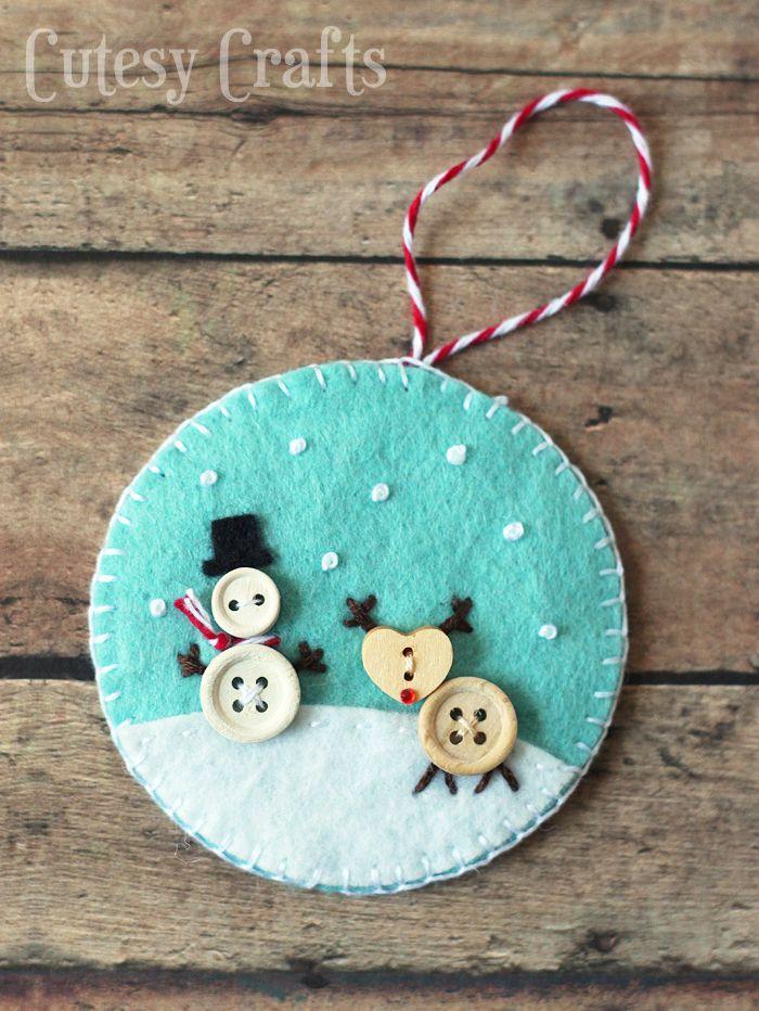 Button and Felt DIY Christmas Ornaments