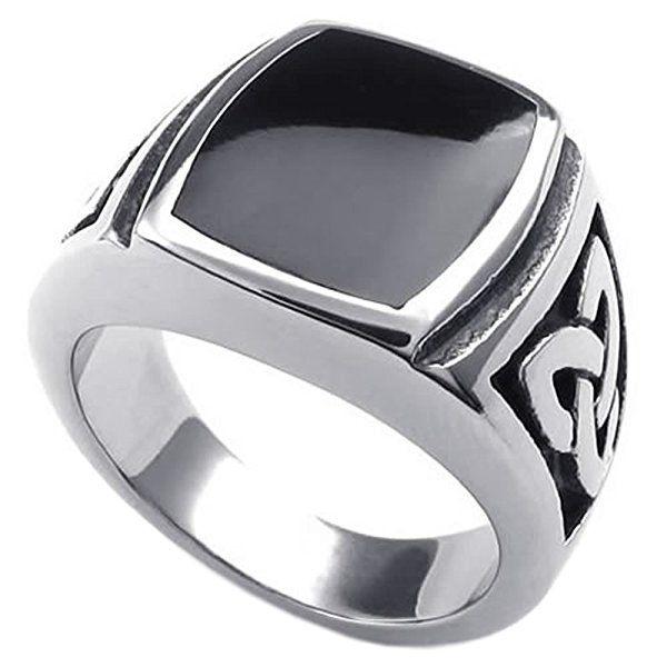 KONOV Schmuck Herren-Ring, Edelstahl, Irischen Dreiecksknoten Trinity Keltisch Knoten Siegelring, Schwarz Silber - Gr. 57