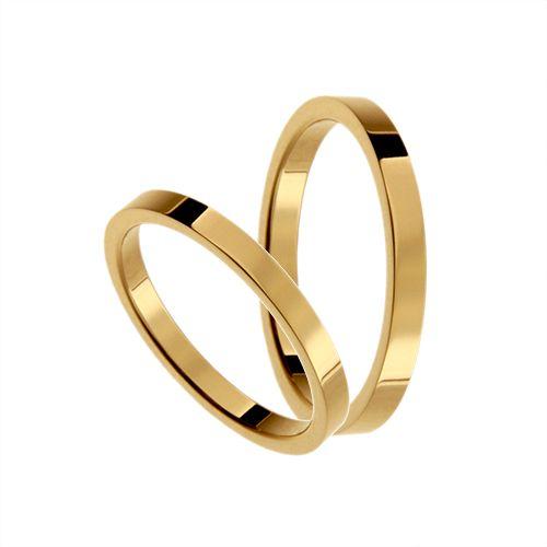 Förlovningsring 18k guld, rak 2,2 mm x 1,5 mm - Adorn
