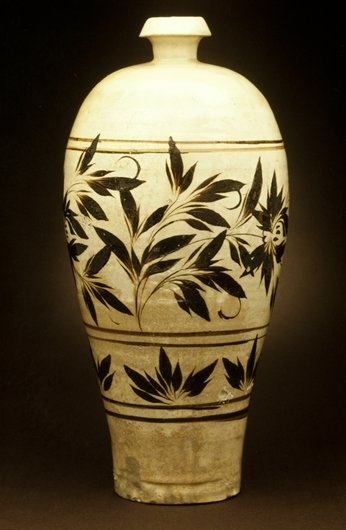 Chin dynasty,Tz'u-chou ware  Stoneware with brown painted floral decor on a white slip under a clear glaze, Minneapolis Institute of Arts