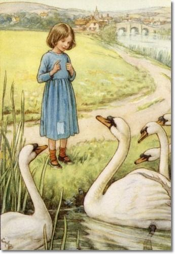 Cicely Mary Barker - The Lord of the Rushie River - The Attentive Swans Painting