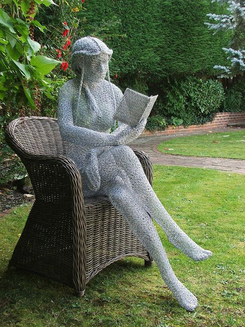 "visitheworld:        ""The Reader"" wire sculpture by Derek Kinzett, Wiltshire, England (by Derek Kinzett Wire Sculptures)."