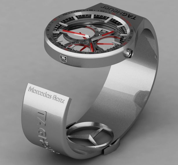 I'm open minded to anything but this is very strange!! Doesn't mean I don't want one... Made my Tag, stamped by Mercedes!! ~~~ Tag-Heuer Formula 1 Watch Gives User The Same Elegance Of Driving A Mercedes Benz.