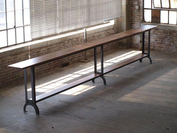 Best 20Ft Walnut Drinkrail Table Standing Height Industrial 400 x 300