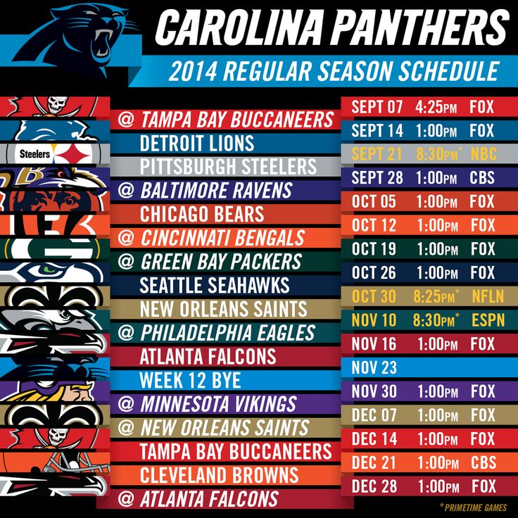 2014 Carolina Panthers NFL Schedule