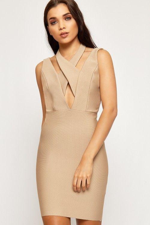 Kylie Halterneck V-Back Bandage Bodycon Dress | WearAll