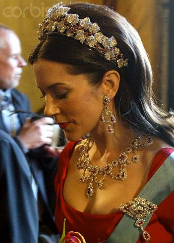 Mary, Crown Princess of Denmark with the parure of rubies