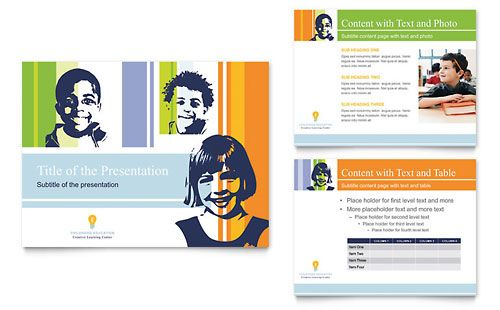 Learning Center & Elementary School PowerPoint Presentation by @StockLayouts