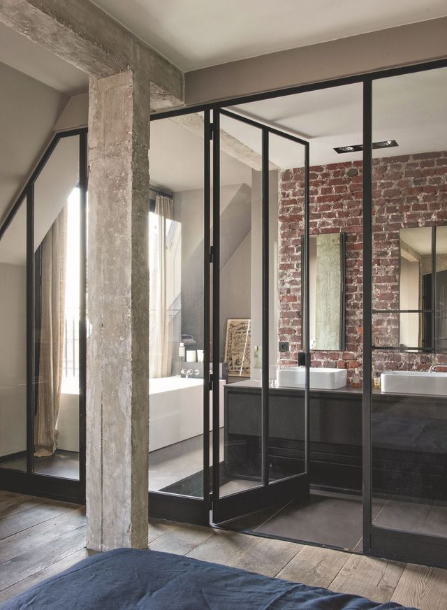 Best 20 industrial door ideas on pinterest industrial - Chambre ouverte sur salle de bain ...