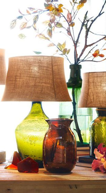 Recycled Glass Vases.  LOVE the lampshades.