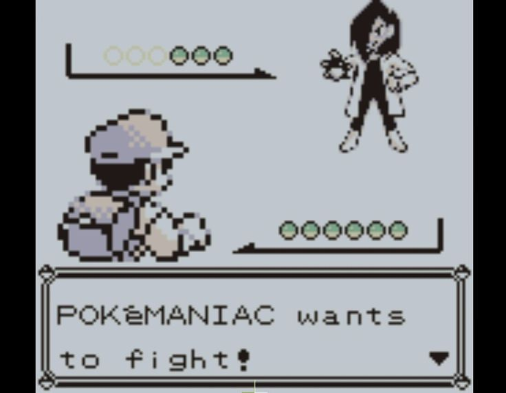 Pokemon snapshot pokemaniac wants to fight. I screan shot this to post when a fellow geek tries to argue with me or when i wanna argue with them. Lol
