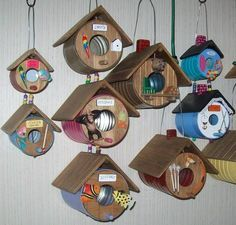 bird houses made from coffee cans.